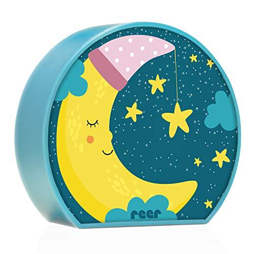 reer 52063 MyBabyLight, Nachtlicht mit Mond-Motiv, Einschlaflicht für Baby und Kind, batterie-betrieben, blau Licht Nacht Licht