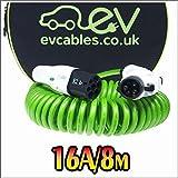 EV Cables CHC007-S(8M) Cavo di Ricarica per le Auto Elettriche a Spirale con il Sacchetto , 16A, 8M