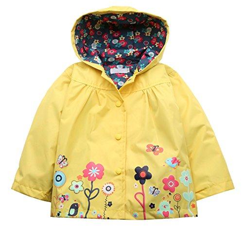 Trudge Mädchen Regenjacke Trenchcoat Outdoorjacke für Kinder Winddicht Regenfest Mit Kapuze Doppelschicht Blumenmuster 90-140CM (90(Alter:1-2), Gelb)