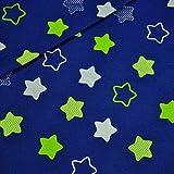 Stern Blau Grün 100% Baumwolle Baumwollstoff Kinderstoff