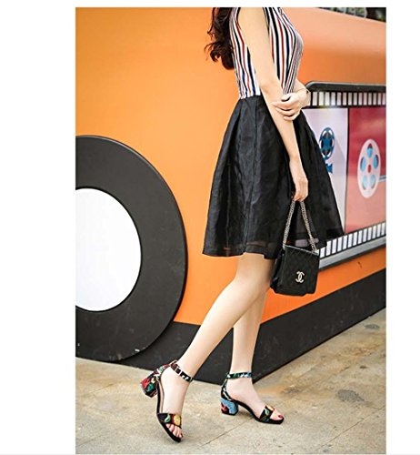 Folk-Custom Retro Fesselriemen Mid Heel Offener Zeh Sandalen für Frauen Black