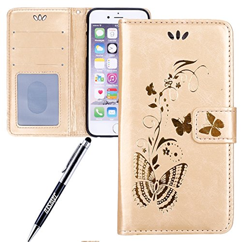 JAWSEU Coque pour iPhone 6/6S 4.7,iPhone 6S Portefeuille Coque en Cuir,iPhone 6 Cover Flip Wallet Case Ultra Slim,2017 Neuf Femme Homme Luxury Retro Gold/Oro Butterfly Papillon Motif Leather Pu Folio  Oro/Gold Butterfly