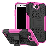 LG Hülle, FindaGift Dual-Layer Handycover 2 in 1 Hybride Design Robuster Fall Stoßfest Cover [Anti-Rutsch] [Anti-Kratzer] Handytasche mit Kickstand Schutzhülle für LG X Power 2 / K10 Power / LV7 Pink