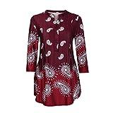 UFACE Damen Women's Cropped Ärmel Print Button T-Shirt Top Damen Dreiviertel Ärmel Druck Casual Tops T-Shirt Lose Top Bluse(Rot,EU/50CN/3XL)