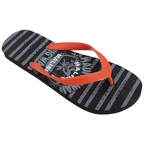 FLOSO® Herren Streifen Maui Hawaii Design Flip Flops Grau/Orange