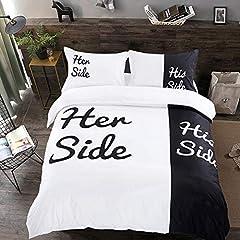 Idea Regalo - WONGS BEDDING Nero e Bianco Set Copripiumino Set His Side Her Side Amante Comforter Quilt Cover 3pcs copripiumini con Chiusura a Cerniera 220 * 240 cm