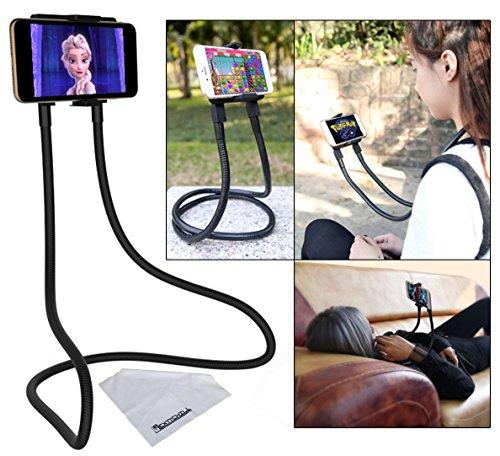 Flex'n'Chill Original Nacken Handyhalter, Universelles Schwanenhals Handyständer mit der Lazy-Klammer-Funktion für Smartphones wie iPhone Samsung, Rotierende Handyhülle