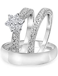 Silvernshine 1.35 Ct Diamond 14k White Gold Fn Mens & Womens Flower Engagement Ring Trio Set