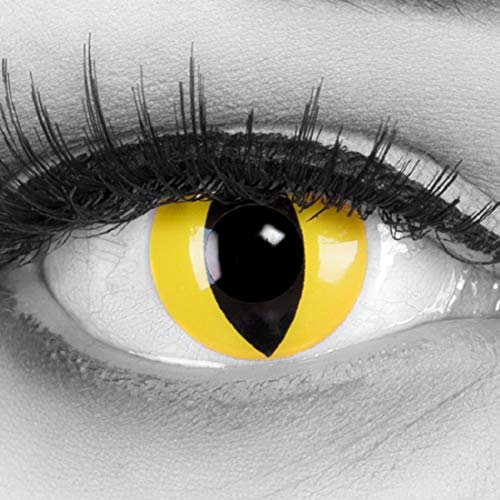 bige gelbe Crazy Fun cat eye Kontaktlinsen. Topqualität zu Fasching, Karneval, Halloween mit gratis Kontaktlinsenbehälter ohne Stärke! ()