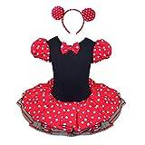 Tiaobug Baby Mädchen Kostüm Kleid Fasching Karneval Mit Ohren Haarreif (86-92, Rot+Schwarz)