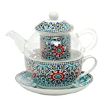 Tea for One Set - Glaskanne mit Porzellantasse und Porzellanfilter von DUO in Geschenkverpackung | Tee-Set/Teeservice: Teekanne Glas Teetasse Teefilter Untertasse Porzellan (Marokko)