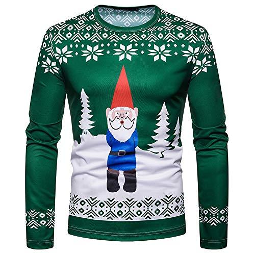 Weihnachts-Oberteile für Männer, Evansamp Happy Holiday Lustiges Kostüm Weihnachtsmann-Print Holiday Humor Langarm-T-Shirt Xmas Top (Grün, XL)