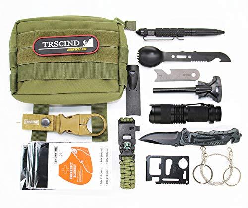 TRSCIND Survival Kit, Emergency Outdoor Kit Außen Survival Set für Reisen Outdoor Camping Wandern Jagd Auto