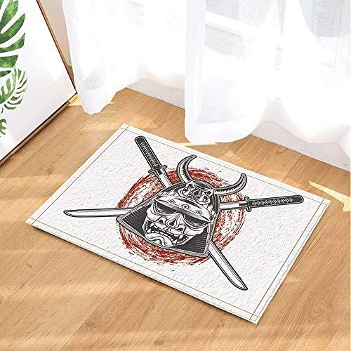 ZHWL6688 Asians Decor Japanische Samurai-Krieger-Maske mit Katana-Schwert-Badteppichen 40x60CMToor Badezimmereinband für die hintere Tür -
