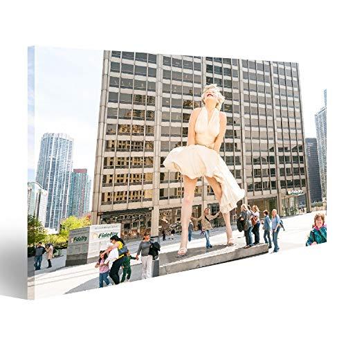 Bild auf Leinwand Chicago, IL, Vereinigte Staaten - 13. April 2012: Für immer Marilyn Monroe Skulptur entlang der Michigan Avenue, die von Wandbild Leinwandbild Kunstdruck Poster 80x40cm