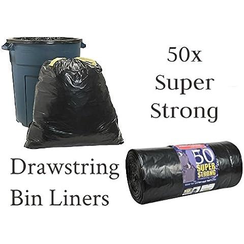50Super forte nero borsa rifiuti Sacchi Spazzatura Draw String