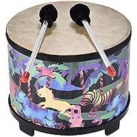 Festnight Holzboden Trommel Percussion Musikinstrument für Gathering Club Karneval mit 2 Mallets für Kinder 10 Zoll