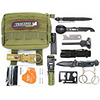 TRSCIND Survival Kit Set, 13-in-1 Notfall-Überlebens-Kit Multi-Tool Survival-Kits