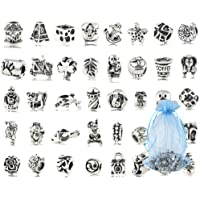 affd6745a Antique Silver Plated Oxidized Metal Beads Charms Set