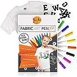Azul Art Kreatives Design Set für Junge Künstler | 8 Waschfeste Textilstifte | DVD Anleitung mit Bastelideen | Plus T-Shirt und Buchstaben (A-Z) zum Aufbügeln | Tolles Geschenk für Jungen & Mädchen
