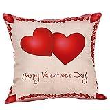 B-commerce 18 x 18 Zoll Kissenbezug für Liebhaber - Happy Valentinstag Baumwolle Leinen Dekokissen Fall Sweet Kissen
