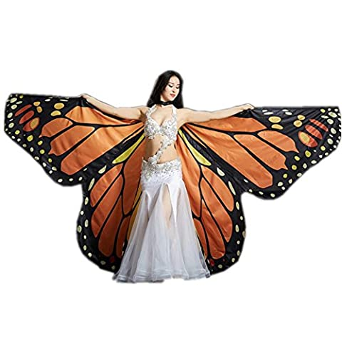 Rainbow Butterfly Big Belly Dance Angel Isis Wings 360 Degrés Flexible Non Bâtons Complet Costume Exotique Enfants Adultes Spectacles Professionnels , Orange Butterfly , Children