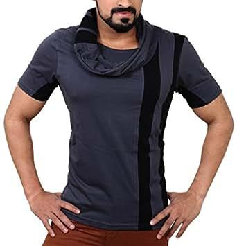 Seven Rocks Men's Cotton T-Shirt (S-MN-CGB_Small_Charcoal Grey, Black)