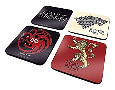 Game of Thrones 4 Coaster Set Official Drinks Protective Melamine Cover with Cork Base, Multi-Colour, 10 x 10 cm