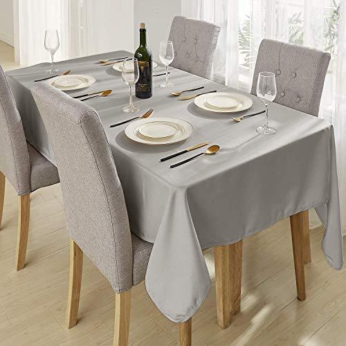 Deconovo Tischwäsche Tischdecke Lotuseffekt Wasserabweisend Tischtuch 130x220 cm Grau