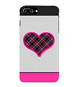 For Apple iPhone 7 Plus pink texture heart ( pink texture heart, heart, grey tuxture pattern ) Printed Designer Back Case Cover By CHAPLOOS