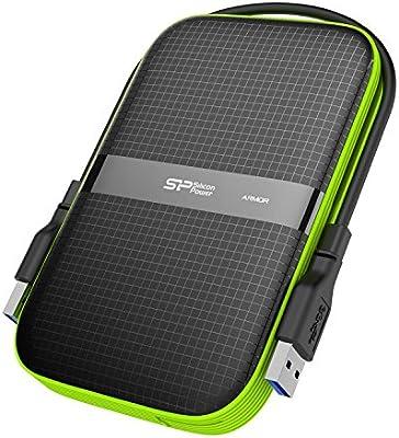 Silicon Power Armor - USB 3.0 de 2,5 pulgadas disco duro externo portátil para PC y Mac, A60 de grado militar a prueba de golpes / resistente al agua, color negro