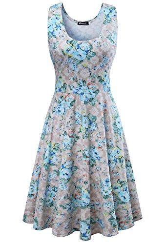 Damen Vintage Sommerkleid Traeger mit Flatterndem Rock Blumenmuster, Grau, Gr. XX-Large/ EU 44