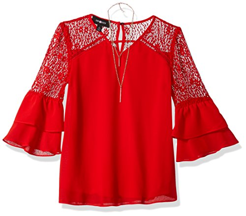 Ein Byer Kleider (Amy Byer Big Girls' Double Bell Sleeve Top With Lace, Red, L)