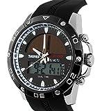 ufengke deportes de hora dual calendario resistente al agua luminosa la energía solar reloj de pulsera cuarzo para los hombres bisel chicos y plata