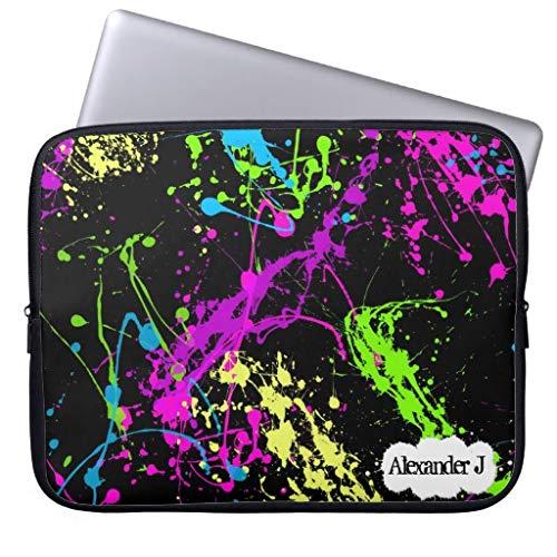 qidushop Fresh Retro Neon Paint Splatter On Black Laptop Case for 11.6 12 Inch Samsung Ultrabook ASUS Fujitsu Lenovo HP Sony Powerbook (Paint Neon Splatter)