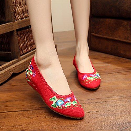 Y&M Gestickte Schuhe, Leinen, Sehnensohle, ethnischer Stil, weibliche Schuhe, Mode, bequem, Slope Red
