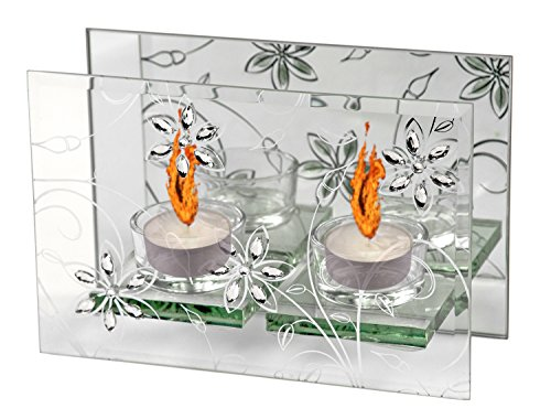 Teelicht Spiegel (Teelichter Glas Kerzenständer Kamin Spiegel Teelichthalter Licht Lampe Kerze)