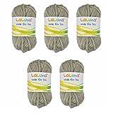5er Pack Filz Wolle grau 100% Schurwolle 250g, Wolle zum Stricken und Filzen Marke: LaLuna®