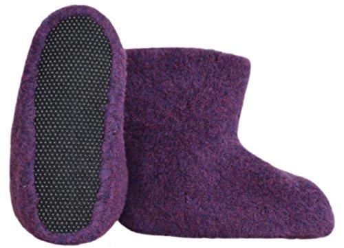SamWo,Fußwärmer Hausschuhe aus 100% Schafwolle, Größe: 35-48 Violett