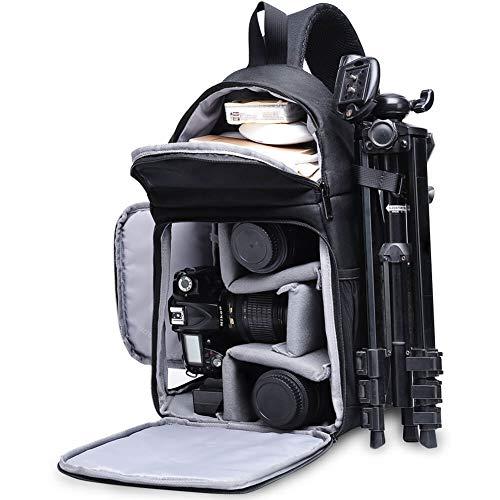 Kameratasche, CADeN Kamera Umhängetasche Sling Brusttasche Bag Wasserdicht für DSLR/SLR und Spiegelreflexkameras Canon Nikon Sony Pentax Stativ (Schwarz)
