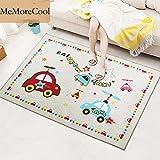 """MeMoreCool Cute Cartoon Oso/Cat/alfombra para habitación infantil, diseño de coche, bebé gatear alfombra, alfombra suave con material antideslizante., 52""""W x 75"""" L"""