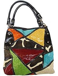 Black Trim, Giraffe Print, Multicolor, Patchwork, Handbag, Animal Print, Expandable, (Black Trim- Multi) By Slo...