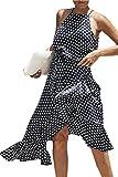 Miss Floral® Womens Asymmetric Hem Polkadot Long Dress Size 6-18