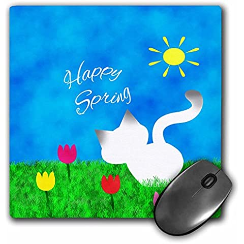Charlyn Woodruff - CW Designs Holidays - Spring - Cute Siamese Kitty Cat Colorful Tulips Happy Spring - MousePad (mp_182617_1)
