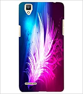 PrintDhaba Feather D-2434 Back Case Cover for OPPO F1 (Multi-Coloured)