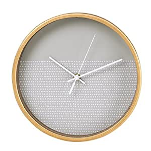 hama horloge murale horloge sans bruit sans tic tac cadre en bois point design 26 cm gris. Black Bedroom Furniture Sets. Home Design Ideas