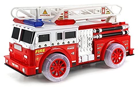 First Rescue Fire Dept Childrens' Kid's Friction Toy Truck Ready To Run w/ 360 Rotating Extending Rescue Crane, Lights, Sounds by Friction Toy Vehicles