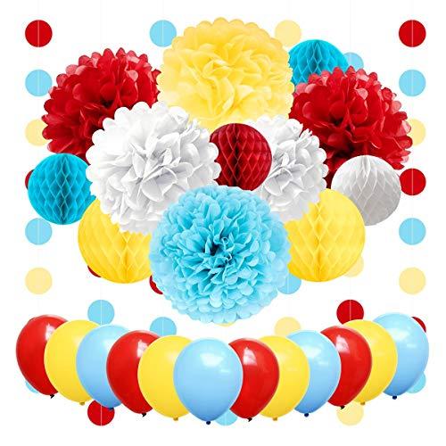 Party Supplies Geburtstag Luftballon Seidenpapier Blumen Wabenball Kreis Punkte Hängende Girlande Banner für Zirkus Baby Dusche Clown Hintergrund Strand Weihnachten Dekoration ()