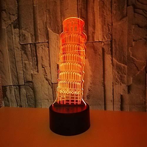 3D-LED-Lampen nahe Licht, 7 Farben, Touch/Fernbedienung Art, USB/AA-Batterie, Schreibtisch-Tischdekorationslampe für Kinder, Schiefer Turm von Pisa -