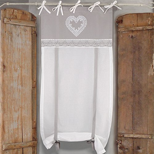 Visillo para ventana Cortina Corta de Ventana Vintage Rústico Shabby Chic - Corazones - 60x240 - Blanco / Gris - 100% Algodón